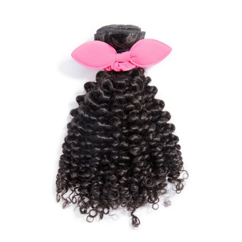 14 Inch - 20 Inch Virgin Brazilian Remy Hair Weft Jerry Curly Natural Black 100g