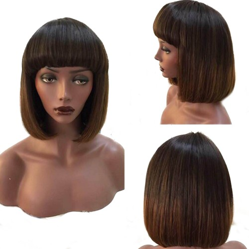 Customized 3 Straight Quick Weave Bob Wig