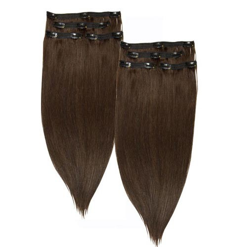 Straight Remy Lace Clip In Hair #4 Chocolate Brown(Twin Pack)