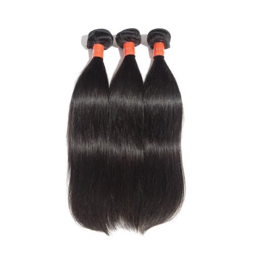 """18""""-28"""" 3 Bundles Straight Virgin Malaysian Hair Natural Black 300g"""