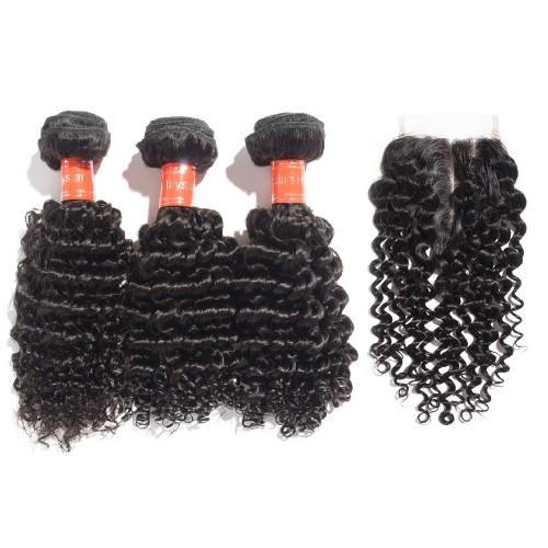 3 Bundles Deep Curly Malaysian Virgin Hair 300g With 4*4 Deep Curly Free Part Closure