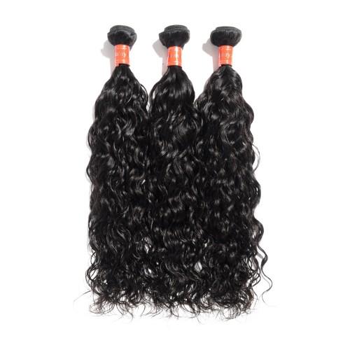 """10""""-30"""" 3 Bundles Natural Wavy Virgin Malaysian Hair Natural Black 300g"""