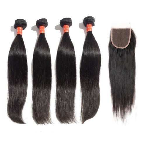 4 Bundles Straight Malaysian Virgin Hair 400g With 4*4 Straight Free Part Closure