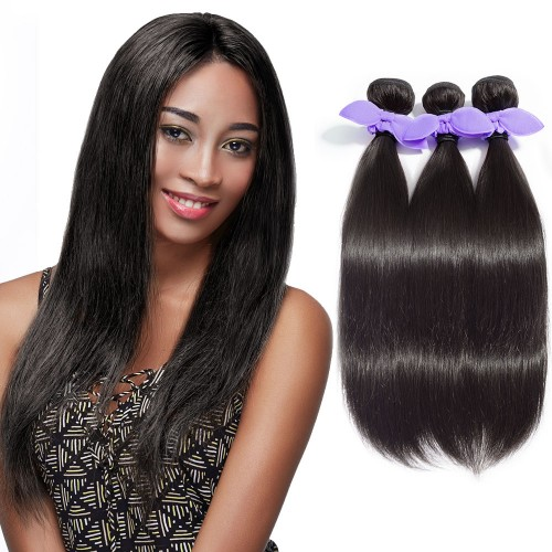 3 Bundles Straight 7A Malaysian Virgin Hair Natural Black 300g