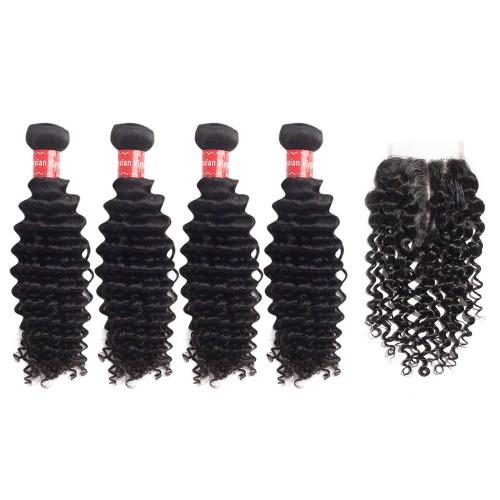 4 Bundles Deep Curly Malaysian Virgin Hair 400g With 4*4 Deep Curly Free Part Closure
