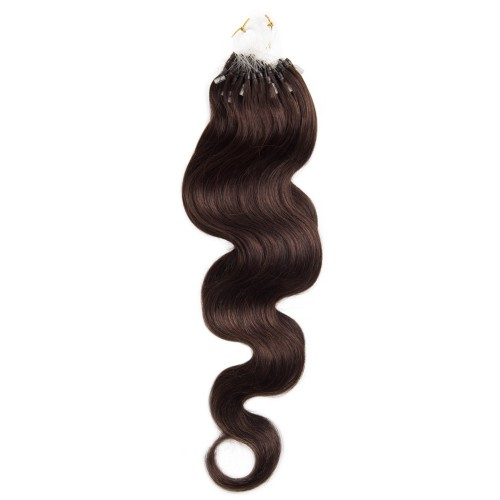 100s 1g/s Body Wavy Micro Loop Hair Extensions #2 Darkest Brown