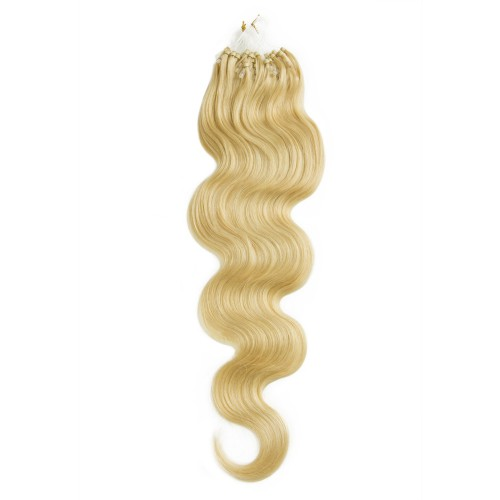 100s 1g/s Body Wavy Micro Loop Hair Extensions #24 Light Golden Blonde
