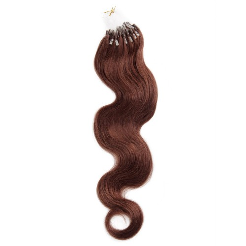 100s 1g/s Body Wavy Micro Loop Hair Extensions #33 Rich Copper Red