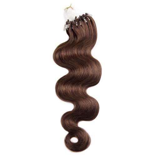 100s 0.5g/s Body Wavy Micro Loop Hair Extensions #4 Chocolate Brown