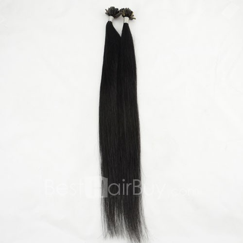 100s 1g/s Straight Nail/U Tip Remy Hair Extensions #1 Jet Black