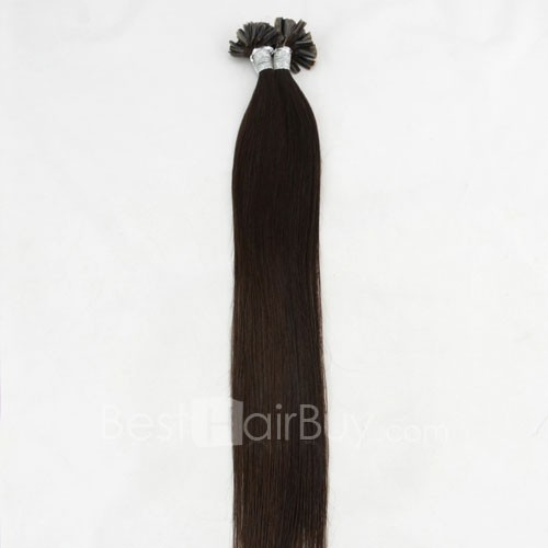 100s 0.5g/s Straight Nail/U Tip Remy Hair Extensions #1B Natural Black
