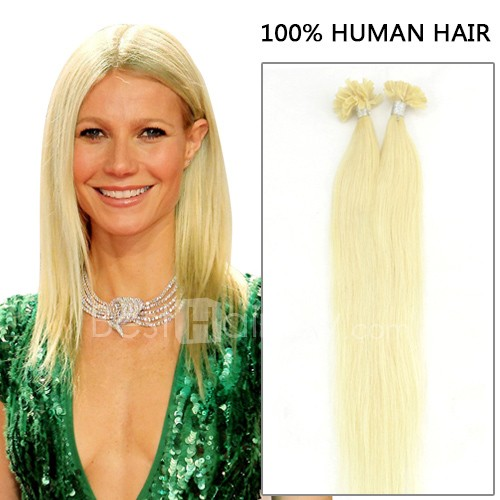 100s 1g/s Straight Nail/U Tip Remy Hair Extensions #24 Light Golden Blonde