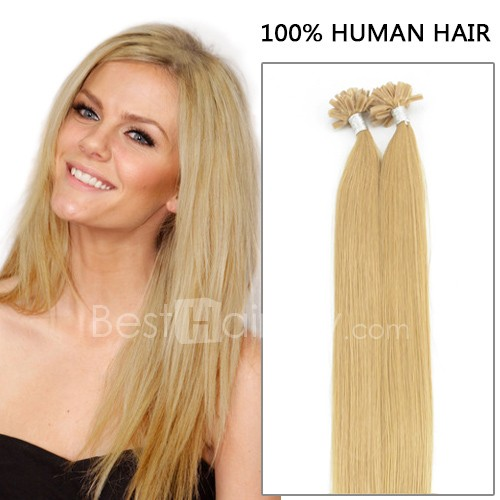 100s 1g/s Straight Nail/U Tip Remy Hair Extensions #27 Strawberry Blonde