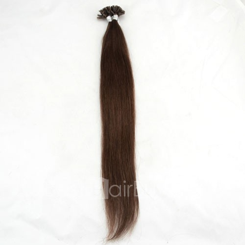100s 0.5g/s Straight Nail/U Tip Remy Hair Extensions #4 Chocolate Brown
