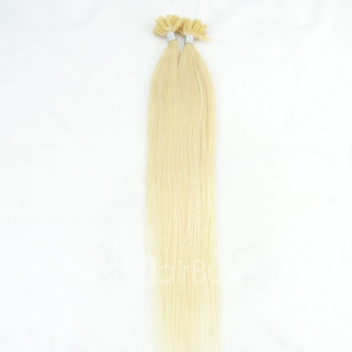 100s 0.5g/s Straight Nail/U Tip Remy Hair Extensions #60 Platium Blonde