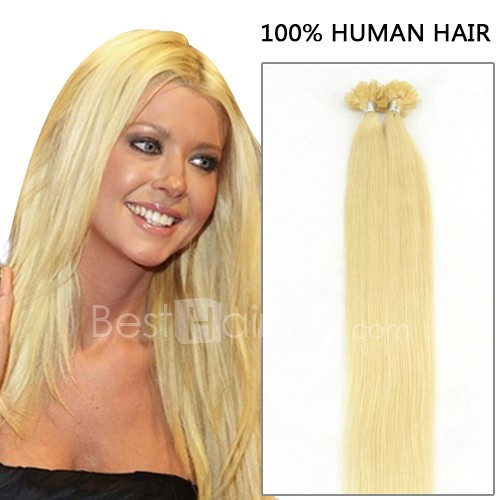 100s 1g/s Straight Nail/U Tip Remy Hair Extensions #613 Lightest Blonde