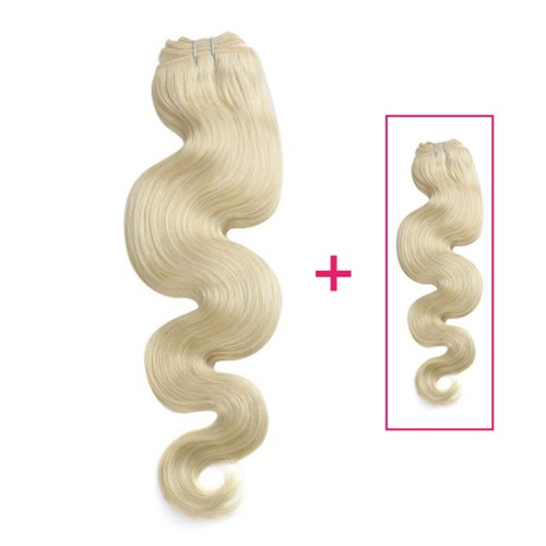 Buy 1 Get 1 Free Body Wavy Brazilian Remy Hair #613 Lightest Blonde