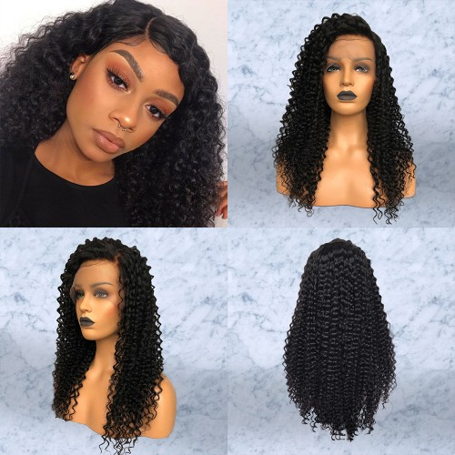 Pre-Plucked Deep Curly Brazilian Virgin Hair Lace Front Wigs