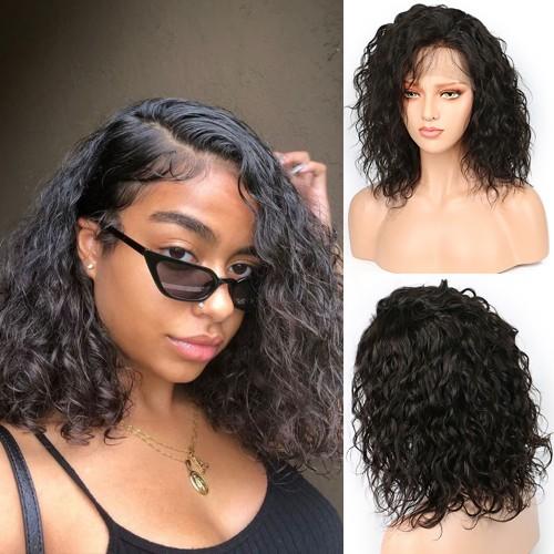 Pre-Plucked Brazilian Virgin Hair Natural Wavy Bob Wigs
