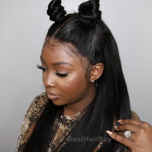 Indian Virgin Hair Straight Front Lace Wigs PWFU24