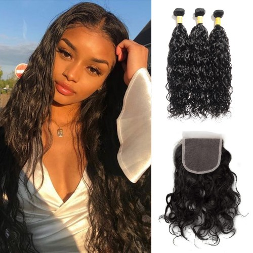USA Stock Virgin Natural Wavy Indian Hair 3 Bundles with 4x4 Lace Closure