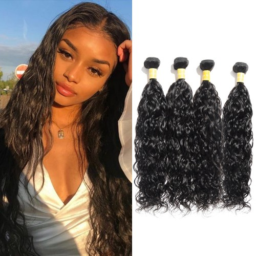 USA Stock Virgin Indian Hair Natural Wavy 4 Bundles