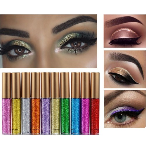 10PCS 10 Colors Long Lasting Waterproof Sparkling Eyeliner Eye Shadow Pen