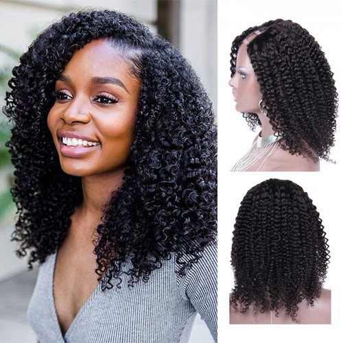 14 Inch #1B Kinky Curly Indian Remy Hair U part Wigs PWU11