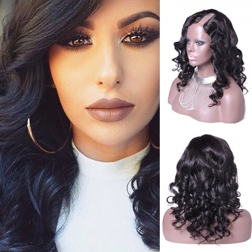 16 Inch #1B Body Wavy Indian Remy Hair U part Wigs PWU19