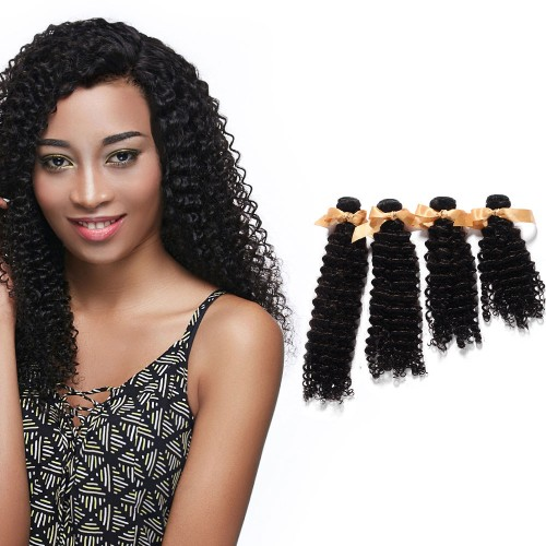 "10""-30"" 4 Bundles Deep Curly Virgin Brazilian Hair Natural Black 400g"