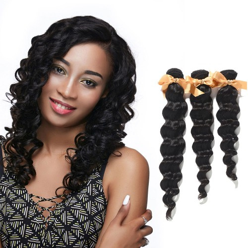 "10""-30"" 3 Bundles Loose Wavy Virgin Brazilian Hair Natural Black 300g"
