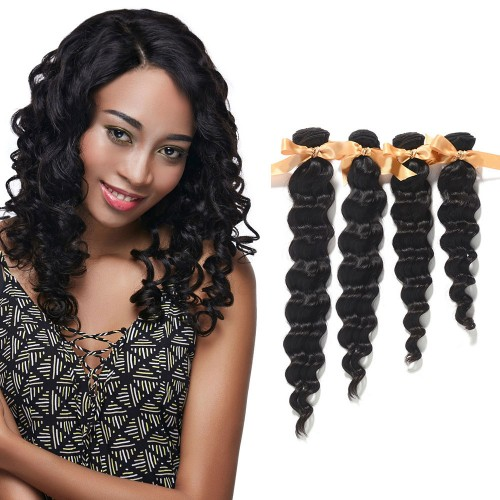 "10""-30"" 4 Bundles Loose Wavy Virgin Brazilian Hair Natural Black 400g"