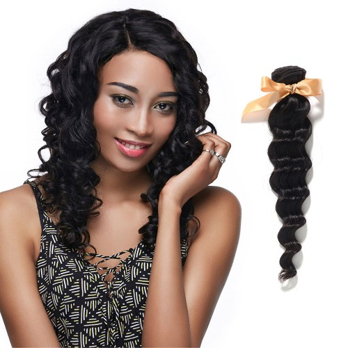 10 Inch - 30 Inch Virgin Brazilian Remy Hair Weft Loose Wavy Natural Black 100g