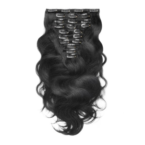 10pcs Body Wavy Clip In Remy Hair Extensions #1 Jet Black