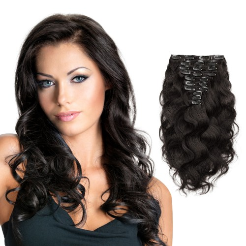 10pcs Body Wavy Clip In Remy Hair Extensions #1B Natural Black