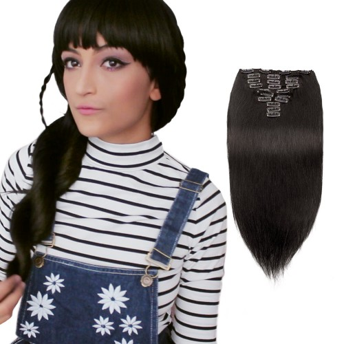 10pcs Straight Clip In Remy Hair Extensions #1B Natural Black