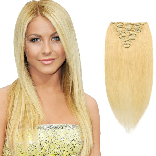 10pcs Straight Clip In Remy Hair Extensions #24 Sandy Blonde