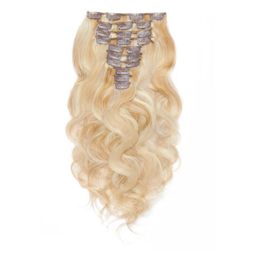 10pcs Body Wavy Clip In Remy Hair Extensions #27/613