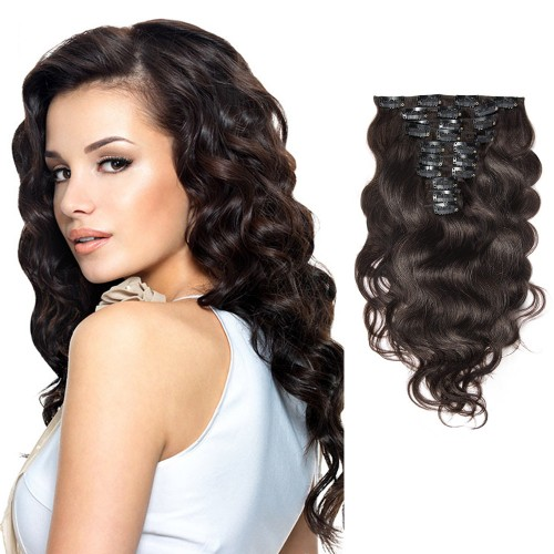 10pcs Body Wavy Clip In Remy Hair Extensions #2 Darkest Brown