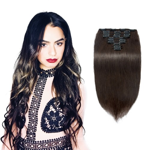 10pcs Straight Clip In Remy Hair Extensions #2 Darkest Brown
