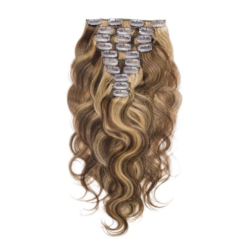 10pcs Body Wavy Clip In Remy Hair Extensions #4/27