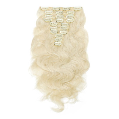 10pcs Body Wavy Clip In Remy Hair Extensions #60 Platium Blonde