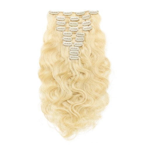 10pcs Body Wavy Clip In Remy Hair Extensions #613 Lightest Blonde