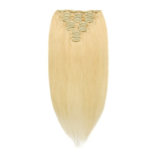 10pcs Straight Clip In Remy Hair Extensions #613 Lightest Blonde