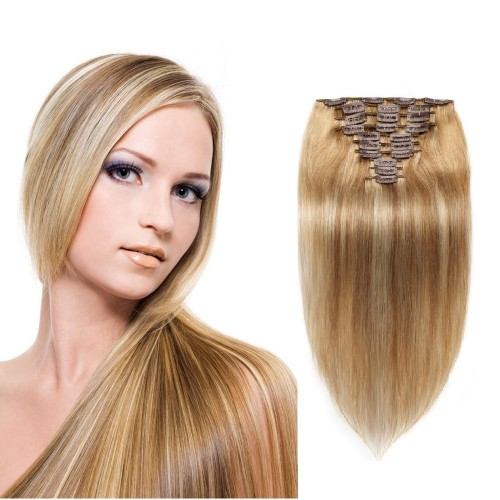 10pcs Straight Clip In Remy Hair Extensions #8/613