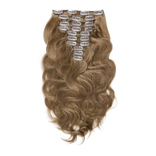 10pcs Body Wavy Clip In Remy Hair Extensions #8 Light Brown