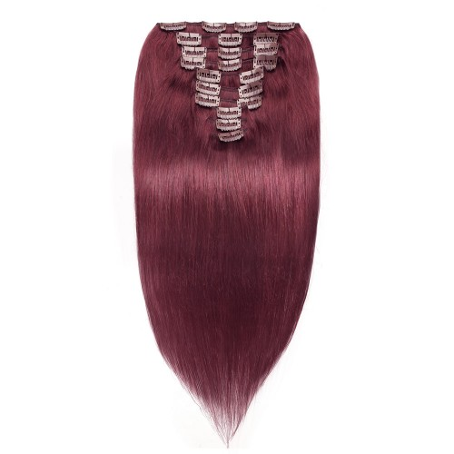 10pcs Straight Clip In Remy Hair Extensions #99J