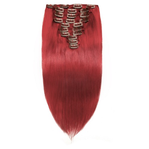 10pcs Straight Clip In Remy Hair Extensions Red