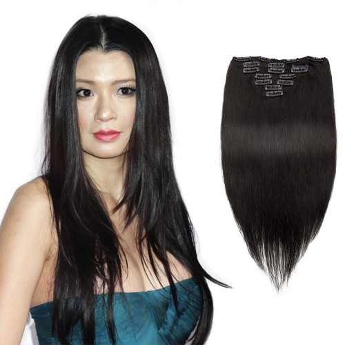 7pcs Straight Clip In Remy Hair Extensions #1B Natural Black