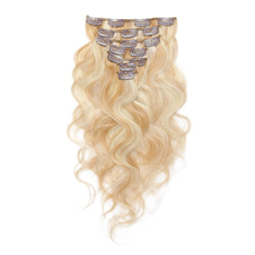 7pcs Body Wavy Clip In Remy Hair Extensions #27/613